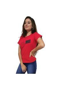 Camiseta Feminina Cellos Half Box Premium Vermelho
