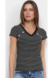Camiseta Adooro! Listrada Botões Feminina - Feminino-Preto+Branco