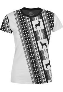 Camiseta Estampada Baby Look Over Fame Tribal Cinza