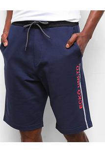 Bermuda Moletom Ecko Sport Logo Masculina - Masculino-Marinho