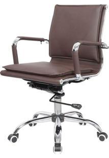 Cadeira Escritorio Eames Top Baixa Marrom Base Cromada - 41004 Sun House