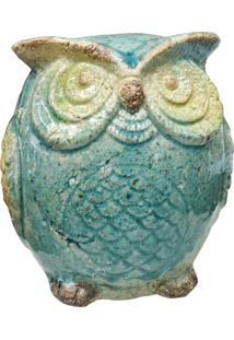 Enfeite Coruja Azul Em Cerâmica Kasa Ideia