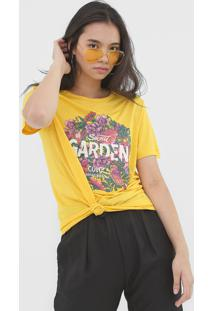 Camiseta Colcci Secret Garden Amarela - Amarelo - Feminino - Viscose - Dafiti