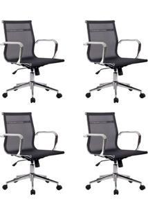 Conjunto Com 4 Cadeiras De Escritório Eames Diretor Star Preto