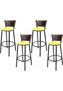 Banquetas Para Cozinha Café 4Un Assento Amarelo