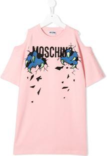 Moschino Kids Vestido De Tricô - Rosa