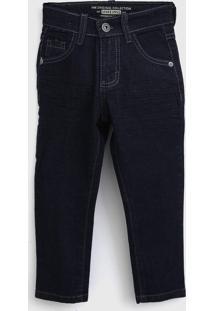 Calça Jeans Mania Kids Infantil Pespontos Azul-Marinho