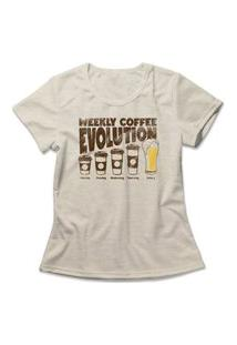 Camiseta Feminina Coffee Evolution Bege