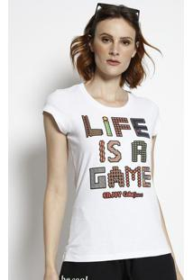 """Camiseta """"Life Is A Game""""- Branca & Vermelha- Coca-Ccoca-Cola"""