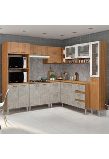 Cozinha Compacta C/Tampo Reflecta05 – Fellicci - Nogal / Concreto