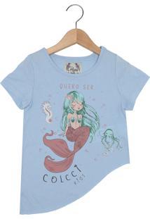 Camiseta Colcci Kids Manga Curta Menina Azul