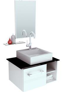 Gabinete Com Cuba E Espelho Felix 1 Pt Branco E Preto 60 Cm