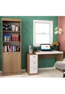 Escrivaninha E Estante Com 2 Portas E 3 Gavetas Para Escritório-Ho-2956-Hecol - Avela / Branco