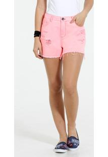 Short Feminino Hot Pants Jeans Puídos Marisa