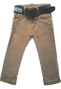 Calça Jeans Megan Com Cinto Marrom