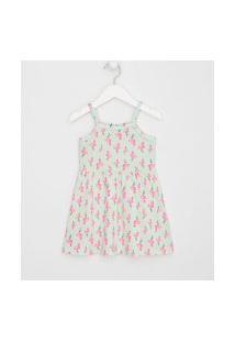 Vestido Infantil Alças Flamingos Com Minipompons - Tam 1 A 4 Anos | Póim (1 A 5 Anos) | Verde | 01