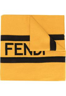 Fendi Cachecol De Tricô Com Logo - Amarelo