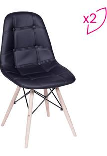 Jogo De Cadeiras Eames Botonãª- Preto & Bege- 2Pã§S