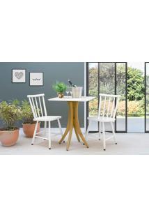 Conjunto Mesa Bistrô Com 2 Cadeiras Quadrada Juliette - Amêndoa E Branco