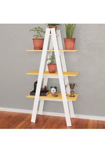 Estante Decorativa Escada Menor Rt 3047 Branco/Amarelo - Móvel Bento