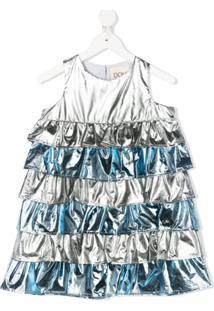 Douuod Kids Vestido Metálico Com Amarração - Prateado