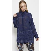 a5e618be33 Camisa Arabescos Com Seda - Azul Escuroversace Collection