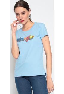 "Camiseta ""Wrangler®"" Com Fendas - Azul & Laranjawrangler"