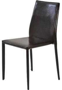 Cadeira Amanda Crocco 6606 Em Metal Pvc Marrom - 32871