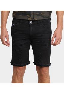 Bermuda Jeans Preston Com Puídos Masculina - Masculino-Preto