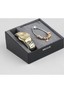 Kit De Relógio Analógico Seculus Feminino + Pulseira - 28880Lpsvda1Kb Dourado - Único