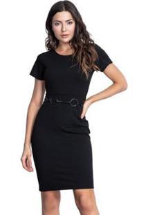 Vestido Pks Social Justo Com Cinto - Feminino-Preto