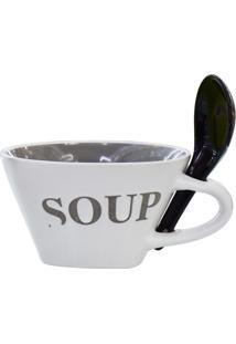 Bowl Soup Com Colher Tigela Cinza Kasa Ideia - Multicolorido - Dafiti