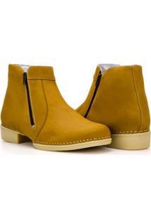 Bota Capelli Boots Couro Cano Curto Com Zíper Lateral Masculina - Masculino-Marrom Claro
