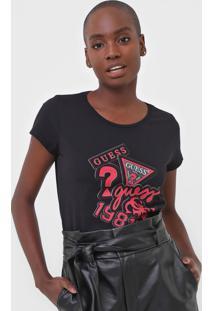 Camiseta Guess Patch Logos Preta - Preto - Feminino - Algodã£O - Dafiti