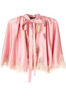 Dolce & Gabbana Jaqueta Com Detalhe De Renda - Rosa