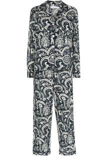 Desmond & Dempsey Pijama Zocalo Com Estampa - Azul
