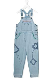 Stella Mccartney Kids Jardineira Jeans Bordada - Azul
