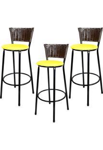 Banquetas Para Cozinha Hawai Café Assento Preto/Amarelo 3Un
