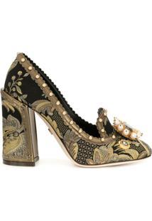 Dolce & Gabbana Scarpin Jacquard Com Broche - Preto