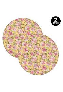 Capa Para Sousplat Mdecore Floral Amarelo 2Pçs