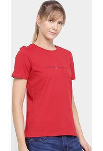 Camiseta Tommy Hilfiger Essential Crew Neck Tee Feminina - Feminino-Vermelho