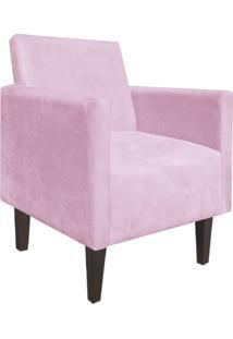 Poltrona Decorativa Compacta Jade Suede Rosa Bebê Com Pés Baixo Chanfrado - D'Rossi