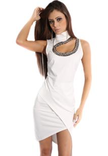 Vestido Aldora Com Pedrarias Frente Assimétrico Branco