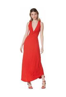 Vestido Midi Decote V Abertura Costas Vermelho M