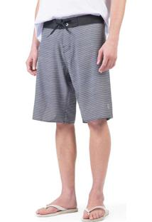 Boardshort Stretch Listrado Pto/Bco