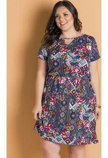 Vestido Étnico Manga Curta Plus Size Marguerite