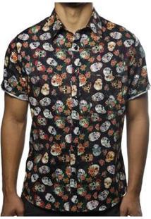 Camisa Camaleão Urbano Caveiras Floral Masculina - Masculino-Preto