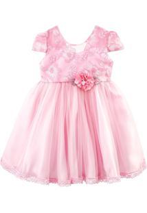 Vestido De Festa Libelinha Para Bebê Com Tule Devorê Rosa