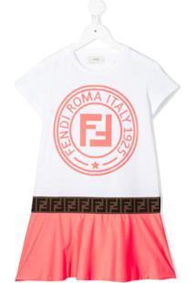 Fendi Kids Vestido Com Contraste - Branco