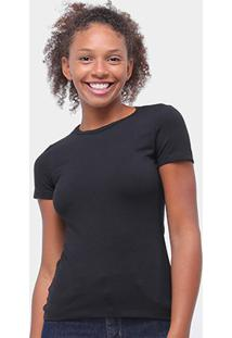 Camiseta Baby Look Malwee Básica Feminina - Feminino-Preto